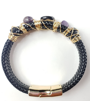 Black Tourmaline, amethyst, and smokey quartz men's bracelet~ one of a kind crystal jewelry