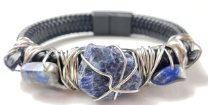 Sodalite and Black Tourmaline leather bracelet ~One of a kind jewelry