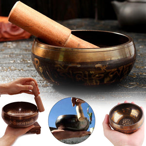 Yoga Meditation Singing Bowl Brass Buddhism Acoustic with Mallet Stick