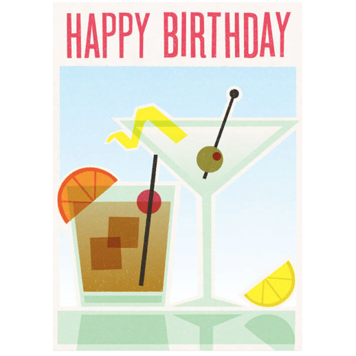 Happy Birthday Cocktail Hour Greeting Card The Longship
