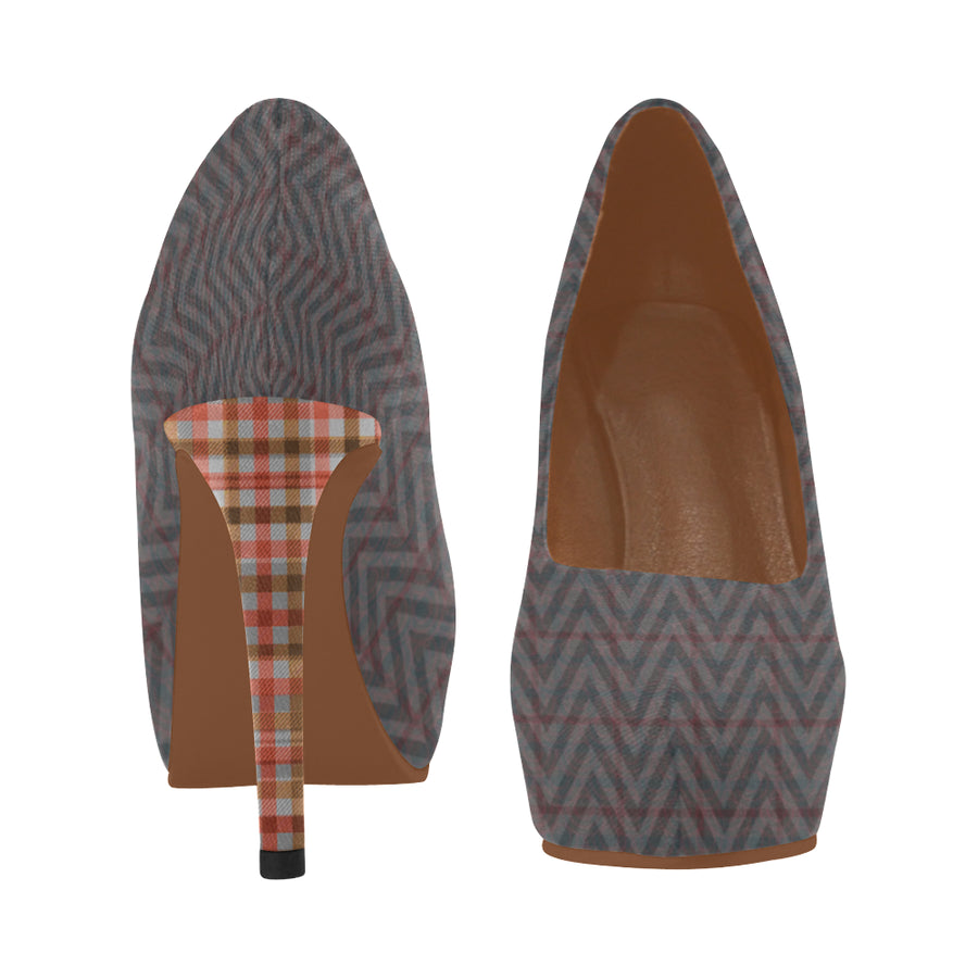 Lolli Gang Redwood Plaid Hi Heels
