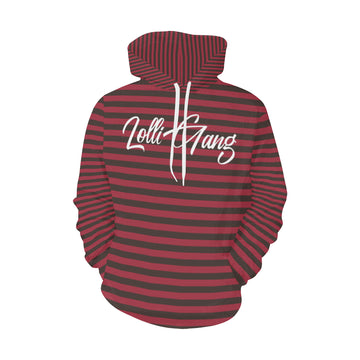 LOLLI GANG Striped fall hoodie_brick red