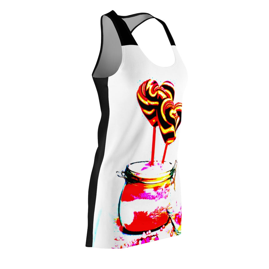 LOLLI GANG Women's Racerback Dress (white/black)