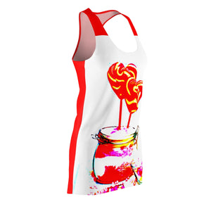 LOLLI GANG Women's Racerback Dress (white/red)