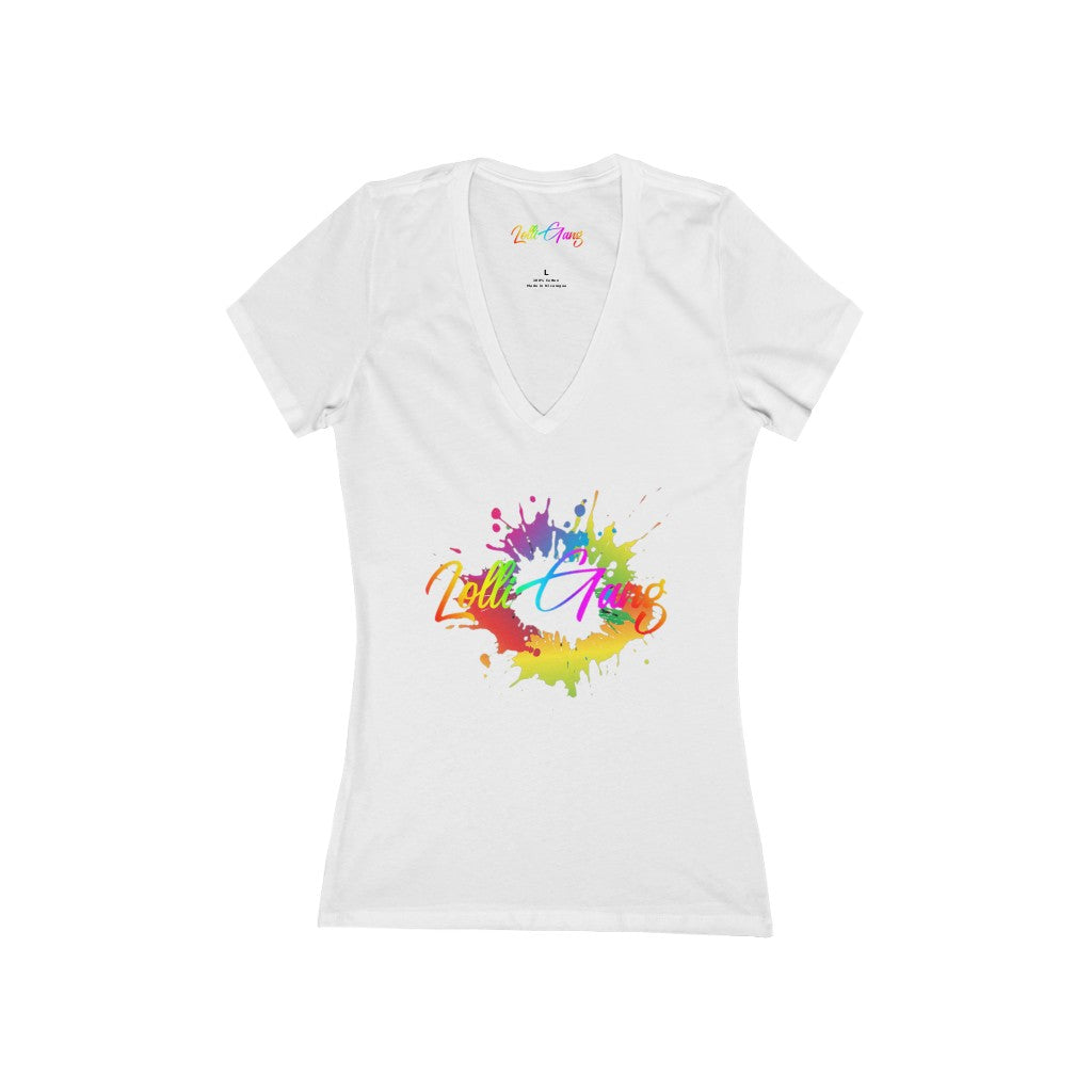 Lolli Gang Women's (Carnival theme) Short Sleeve Deep V-Neck Tee