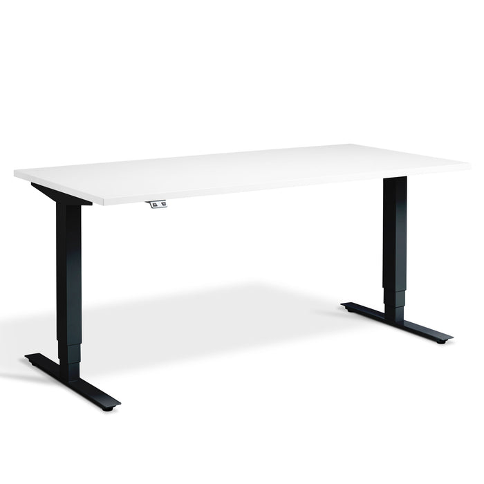 White height adjustable desk with black frame