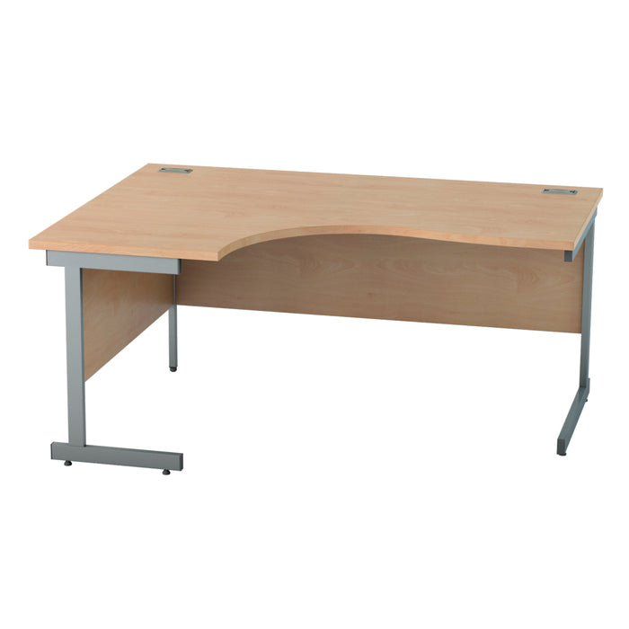 Beech Left hand Crescent Desk with Cantilever legs