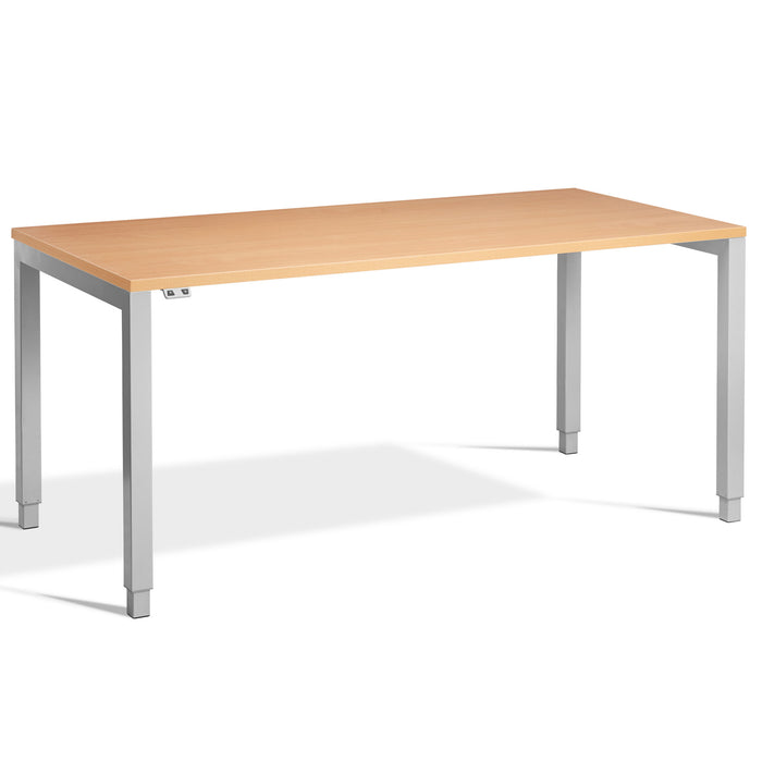 Beech Height Adjustable Desk with Silver Frame