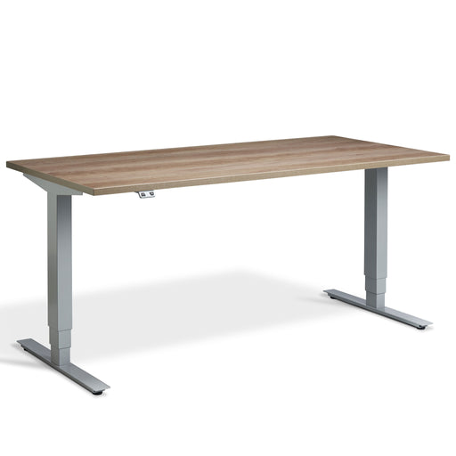 Grey Nebraska Oak Height Adjustable Desk with Silver Frame