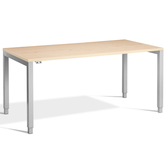 Maple HEIGHT ADJUSTABLE Desk with Silver Frame