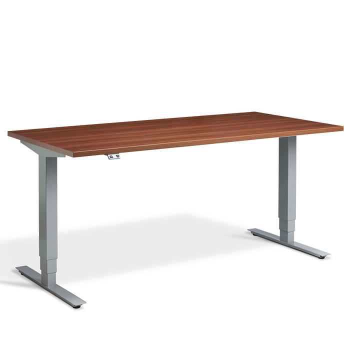 Walnut Height Adjustable desk with Silver frame