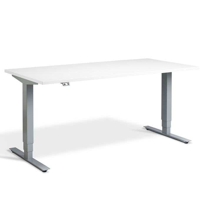 white height adjustable desk with Silver frame