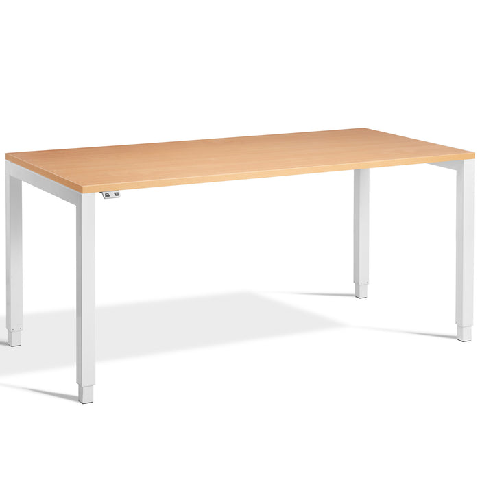 Beech Height Adjustable Desk with White Frame