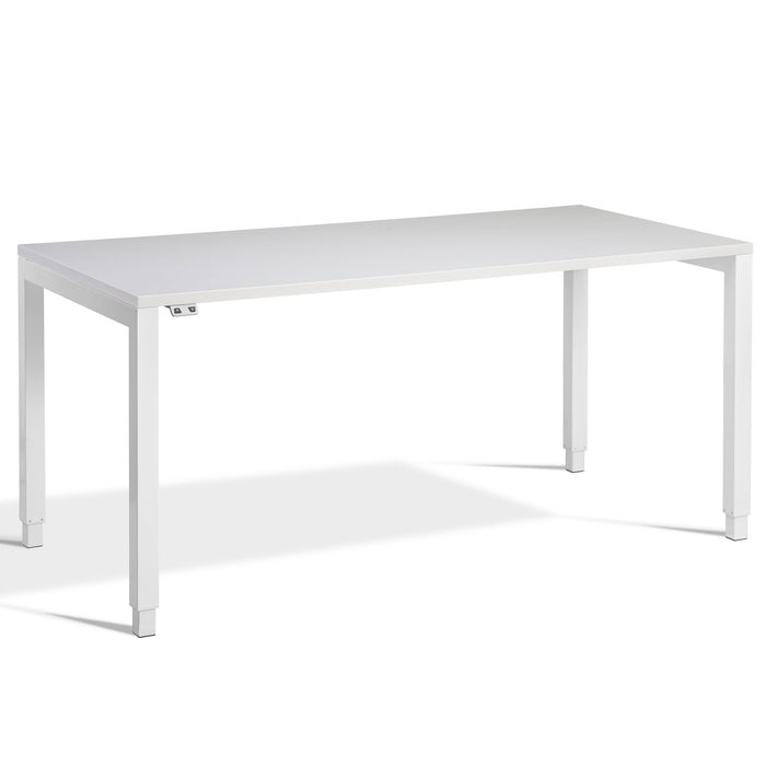 Grey Height Adjustable Desk With White FRAME