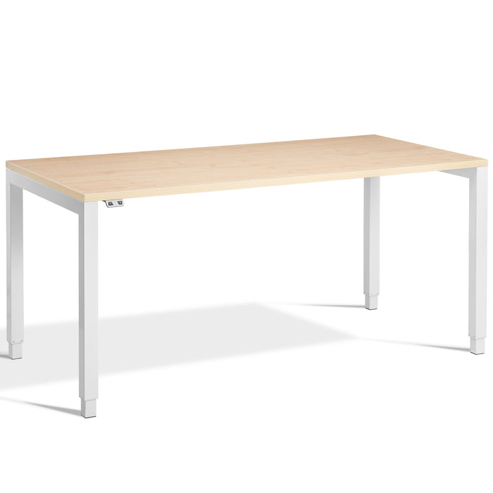 Maple Height Adjustable desk with white frame