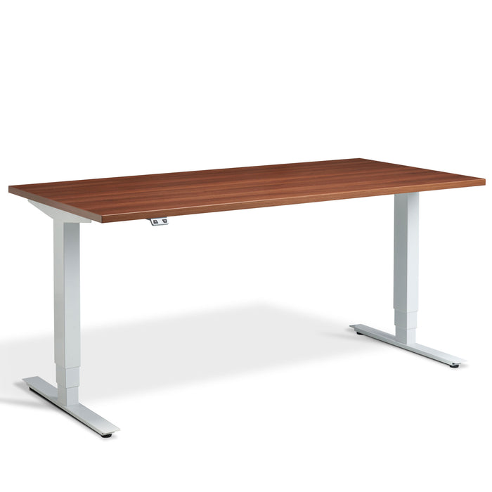 WALNUT HEIGHT ADJUSTABLE DESK WITH WHITE FRAME