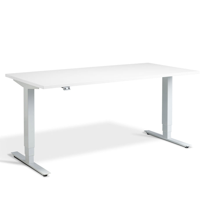 White height adjustable desk with WHITE frame