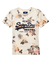 Vintage Logo Photo Rose All Over Print T-Shirt - Cream - Superdry Malaysia