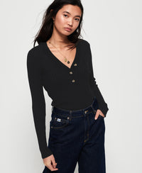 Lola Buttoned Vee Knit - Black