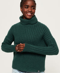 Dahlia Roll Neck Jumper - Green - Superdry Malaysia