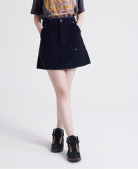 Cord A-line Skirt - Navy