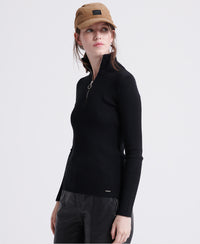 Ophelia Ribbed High Neck Knit - Black