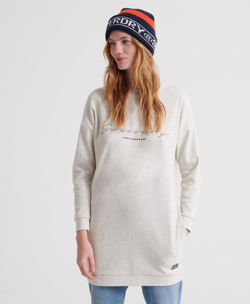 V Crew Graphic Sweat Dress - Grey - Superdry Malaysia