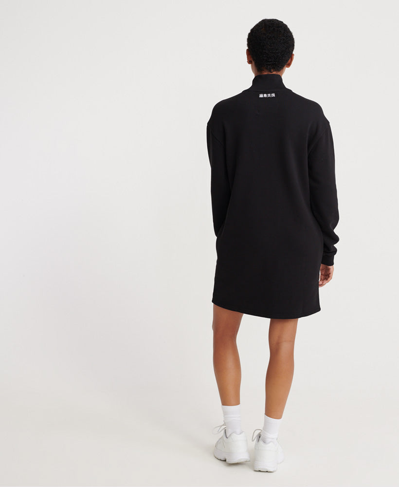 Edit Quarter Zip Sweat Dress - Black