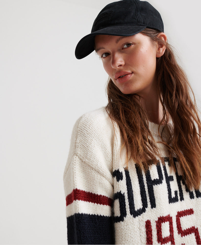 Intarsia Slouch Knit Jumper - Cream - Superdry Malaysia