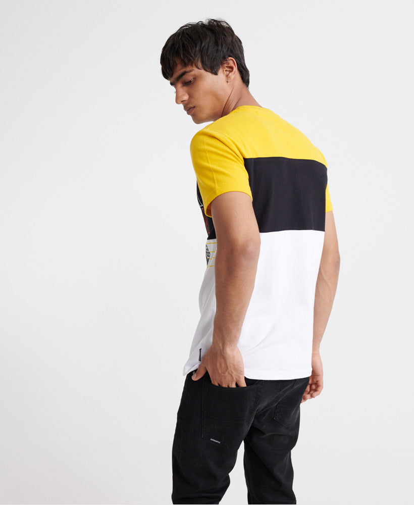 Crafted Print Colour Block T-shirt - Yellow