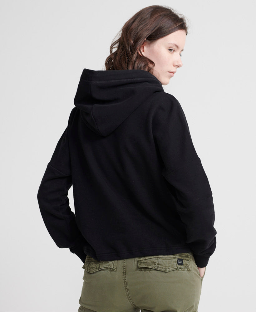 Orange Label Elite Crop Hoodie - Black