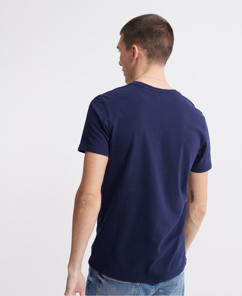 Embossed Pastel Line T-Shirt - Navy