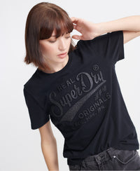 Real Original Glitter Embossed T-shirt - Black