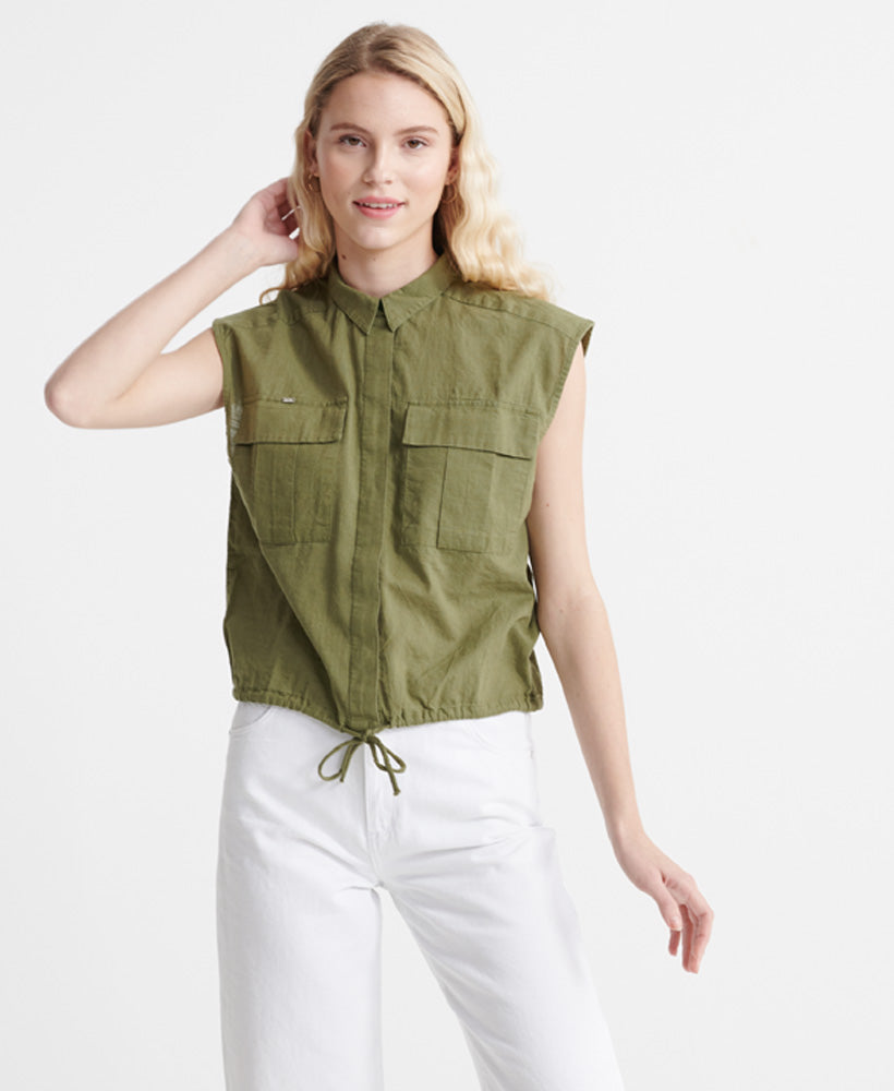 Sleeveless Military Shirt - Green