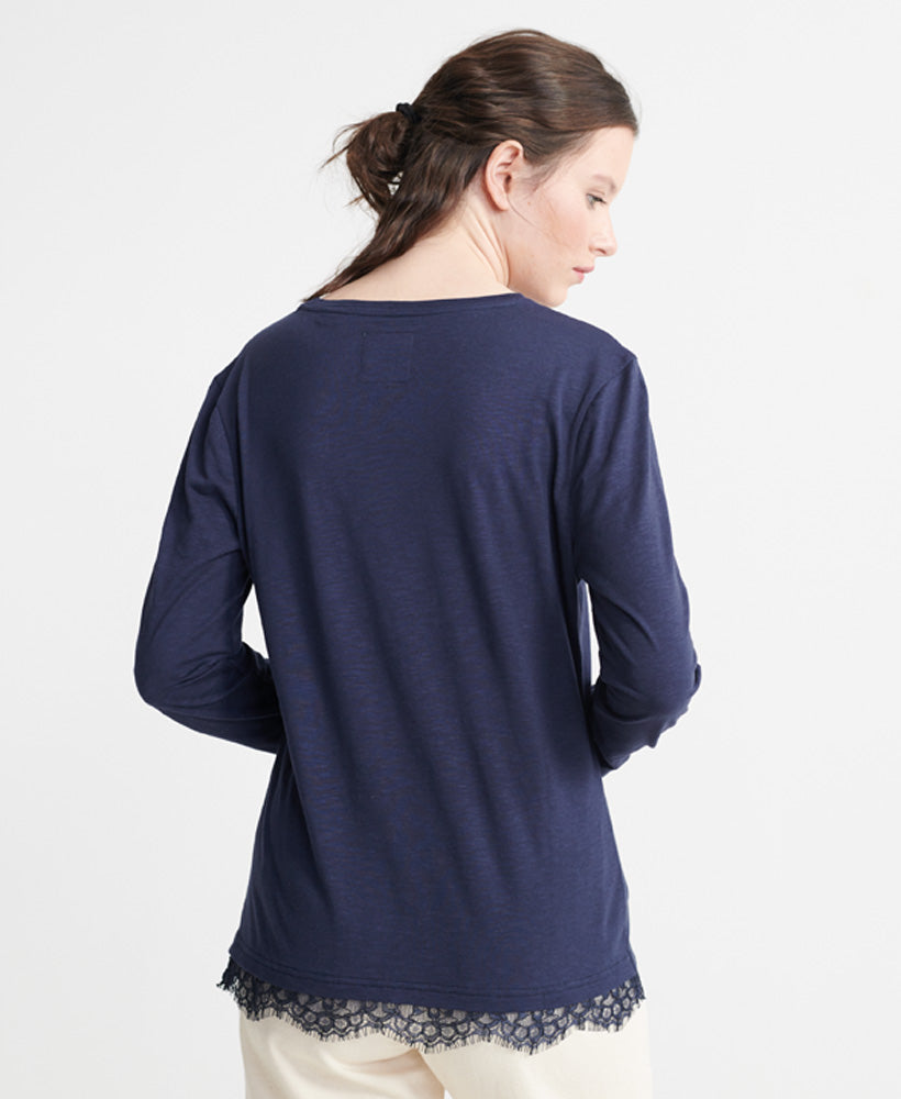 Tilly Lace Graphic Top - Dark Blue