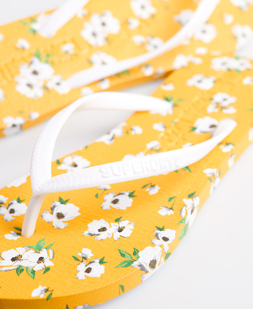 Super Sleek All Over Print Flip Flops - Yellow