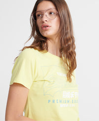 Organic Cotton Premium Goods Label Outline T-Shirt - Yellow - Superdry Malaysia