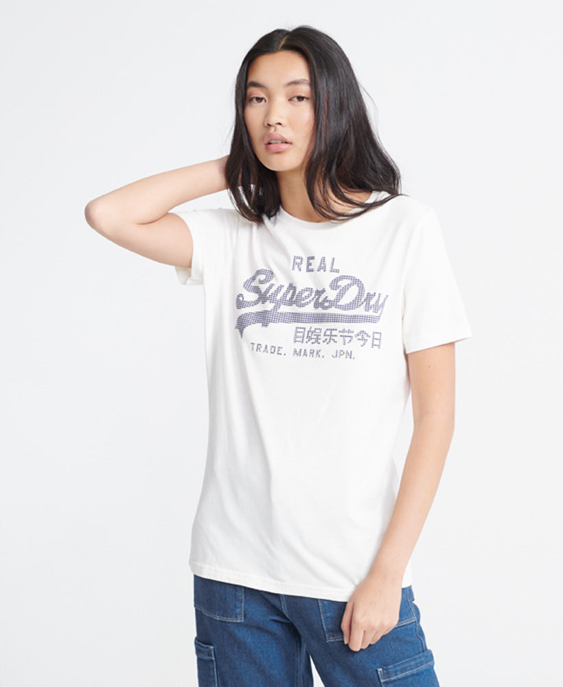 Vintage Logo Gingham T-Shirt - White - Superdry Malaysia