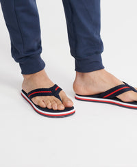 Tri Colour Flip Flops - Navy