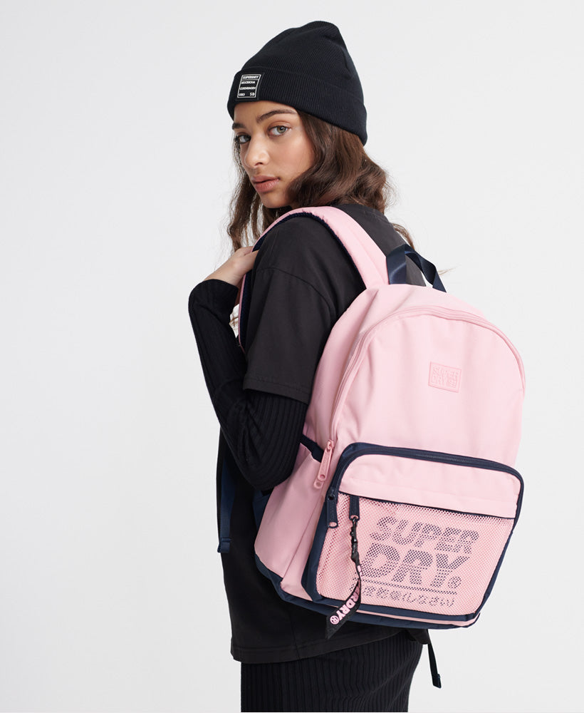 Mesh Pocket Backpack And Pencil Case - Pink