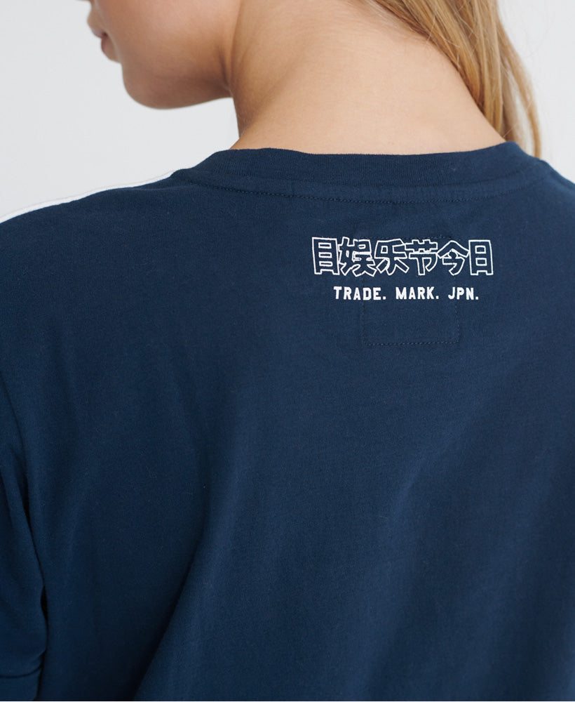 Vintage Logo Outline Piping Boxy T-Shirt - Navy