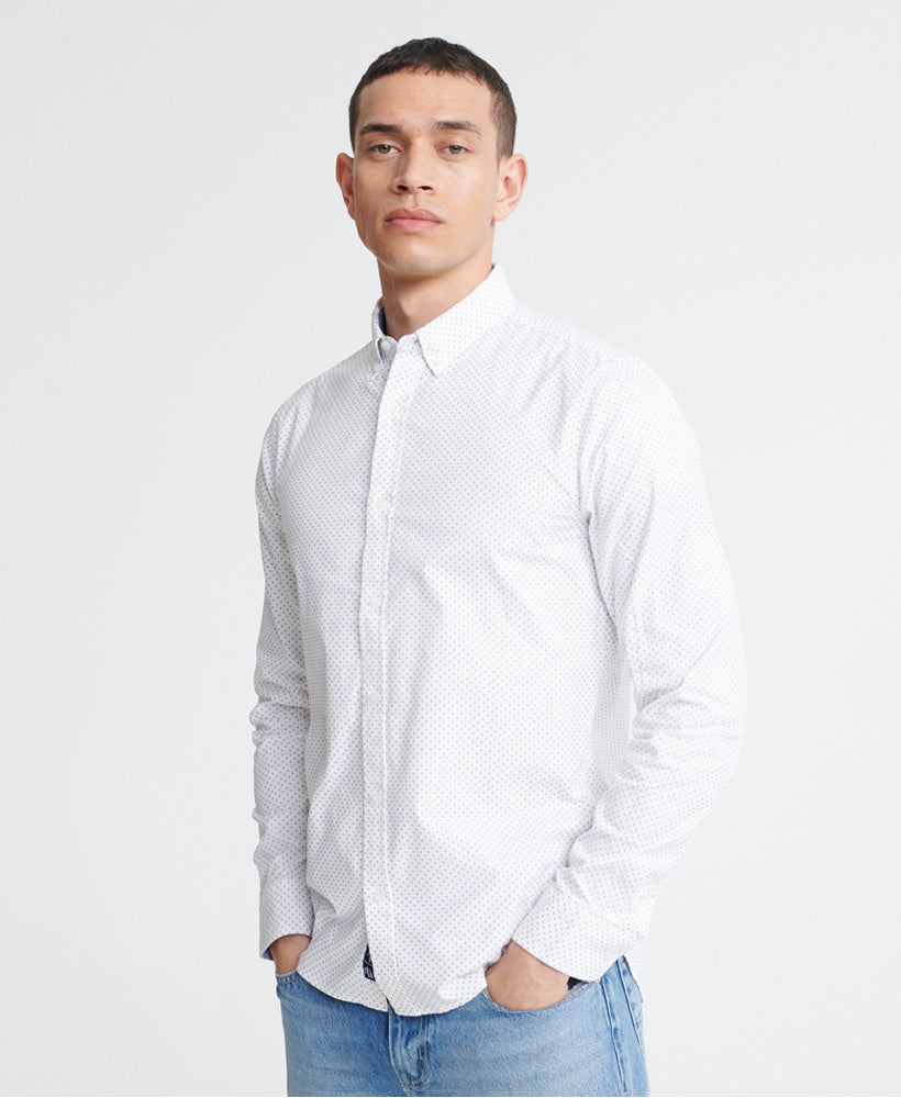 Classic Shoreditch Print Long Sleeve Shirt - White