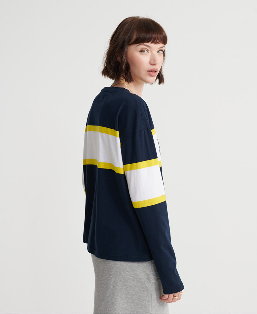Macy Panelled Graphic Top - Navy