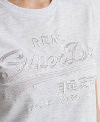 Vintage Logo Tonal Embroidery T-Shirt - Light Grey - Superdry Malaysia