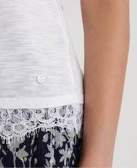 Jessica Graphic Lace Tank Top - White