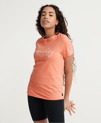 Alice Script Embroidered T-Shirt - Orange