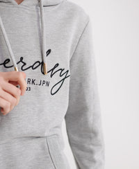 Alice Script Embroidered Loopback Hoodie - Grey - Superdry Malaysia