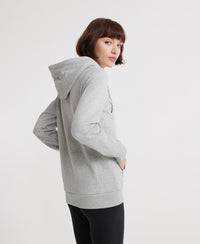 Alice Script Embroidered Loopback Hoodie - Grey