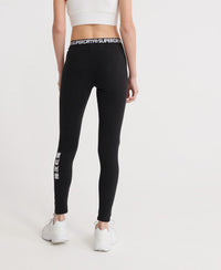 Logo Elastic Leggings - Black