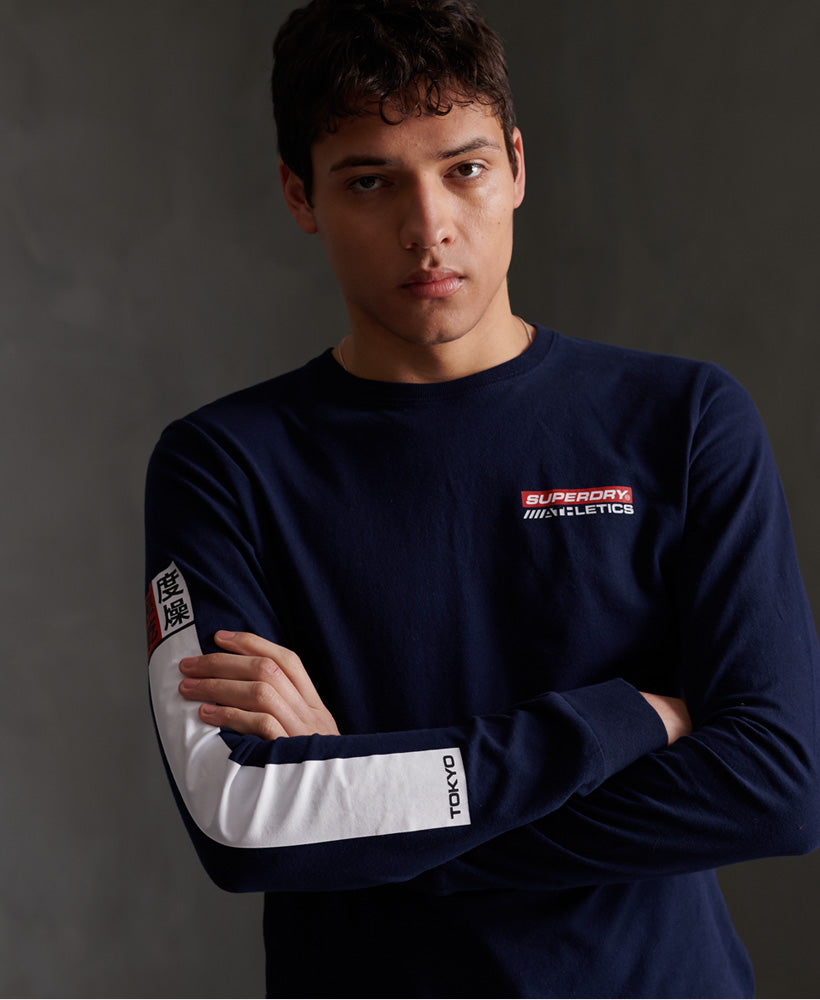 Trophy Graphic Long Sleeved T-Shirt - Navy - Superdry Malaysia